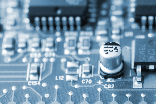 closeup of a printed circuit board